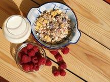 Café da manhã saudável com framboesa fotos de stock royalty free