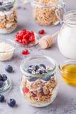 Café da manhã saudável - os frascos de vidro da aveia lascam-se com fruto fresco Foto de Stock