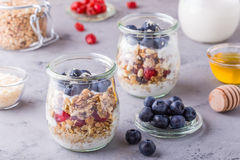 Café da manhã saudável - os frascos de vidro da aveia lascam-se com fruto fresco Imagem de Stock Royalty Free