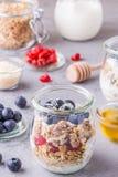 Café da manhã saudável - os frascos de vidro da aveia lascam-se com fruto fresco Imagem de Stock