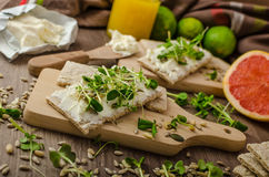 Café da manhã saudável, pão estaladiço com queijo creme orgânico Imagens de Stock Royalty Free
