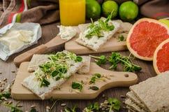 Café da manhã saudável, pão estaladiço com queijo creme orgânico Foto de Stock Royalty Free