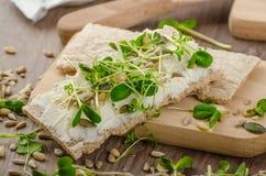Café da manhã saudável, pão estaladiço com queijo creme orgânico Fotos de Stock Royalty Free