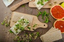 Café da manhã saudável, pão estaladiço com queijo creme orgânico Fotografia de Stock