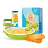 Café da manhã saudável para o bebê com papa de aveia e biscoitos ilustração stock
