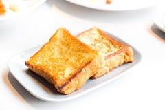 Café da manhã simples do pão da rabanada foto de stock