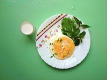 Café da manhã, vegetal do leite do ovo Fotos de Stock Royalty Free