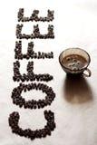 CAFÉ da palavra dos feijões de café Fotografia de Stock Royalty Free