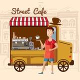 Café da rua, barista do ônibus do café na cidade, desenhos animados ilustração stock