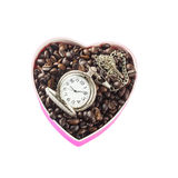 Café dado forma coração Fotos de Stock