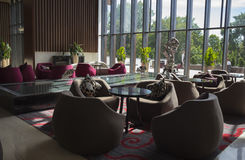 Café dans la conception de ŒInterior de ¼ de lobbyï d'hôtel image libre de droits