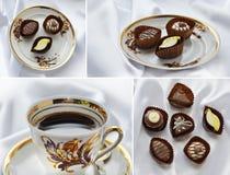 Café dans la tasse élégante de porcelaine du service de café de Riga Photos stock