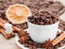 Café das grões no copo Canela e anis em um prato Limão secado Imagens de Stock