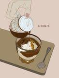 Café de Affogato, línea dibujada mano arte, vector del bosquejo del ejemplo Imagen de archivo