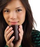 Café de consumición de la mujer hermosa Fotografía de archivo libre de regalías