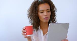Café de consumición del ejecutivo de sexo femenino bonito de la raza mixta y usar la tableta digital en la oficina moderna 4 4k metrajes
