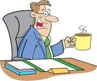 Café de consumición del hombre de la historieta Imagen de archivo