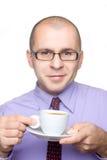 Café de consumición del hombre de negocios Imagen de archivo libre de regalías