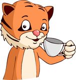 Café de consumición del tigre de la historieta libre illustration
