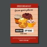 Café de crêpe de calibre de brochure de petit déjeuner illustration de vecteur