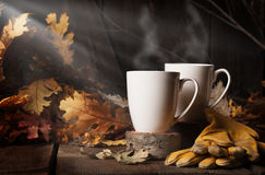 Café de cuisson à la vapeur 2 de deux tasses photo libre de droits