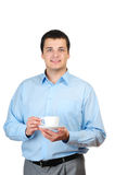 Café de fixation de jeune homme (ou thé) Photographie stock