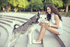 Café de hielo de consumición de la muchacha y el jugar con su perro fornido en el parque Foto de archivo