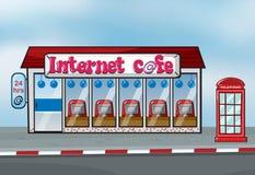 Café de Interent y cabina de teléfono stock de ilustración