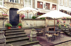 Café de la calle de Gdansk Mariacka Fotos de archivo