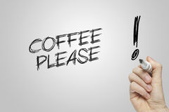 Café de la escritura de la mano por favor Fotografía de archivo libre de regalías