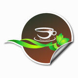 Café de la etiqueta engomada Foto de archivo