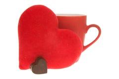 Café de la mañana de las tarjetas del día de San Valentín Foto de archivo libre de regalías