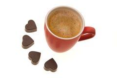 Café de la mañana de las tarjetas del día de San Valentín Fotografía de archivo