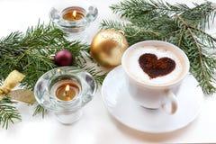 Café de la Navidad con el corazón Fotografía de archivo libre de regalías
