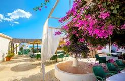 Café de la orilla del mar en Torremolinos Provincia de Málaga, Costa del Sol A imágenes de archivo libres de regalías
