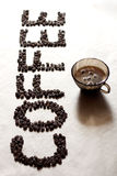 CAFÉ de la palabra de los granos de café Fotografía de archivo libre de regalías