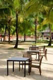 Café de la playa entre las palmeras en la arena imágenes de archivo libres de regalías