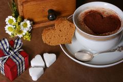 Café de la tarjeta del día de San Valentín foto de archivo
