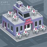 Café de la tarjeta del día de San Valentín de la fachada    ilustración del vector