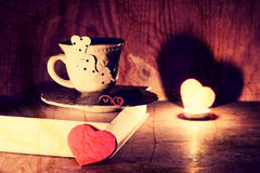 Café de livre de jour de valentines Photo stock