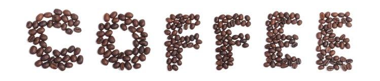 Café de los granos de café, alfabeto de la palabra de los granos de café imagen de archivo libre de regalías