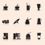 Café de los iconos: amoladora de café, taza, granos de café Fotografía de archivo