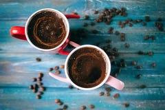 Café de matin pour des couples dans l'amour Vue supérieure Photos libres de droits