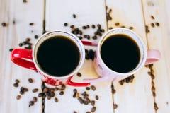Café de matin pour des couples dans l'amour Vue supérieure Images libres de droits
