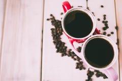 Café de matin pour des couples dans l'amour Vue supérieure Photo libre de droits