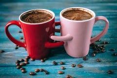 Café de matin pour des couples dans l'amour Vue supérieure Image libre de droits