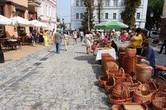 Café de rue et marché extérieur Image stock