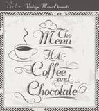Café de vecteur de vintage un menu de chocolat Image stock