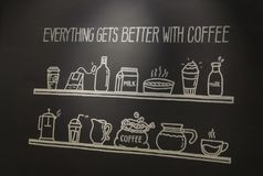 Café del cartel con las letras dibujadas mano fotos de archivo