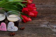 Café del día de tarjetas del día de San Valentín foto de archivo libre de regalías